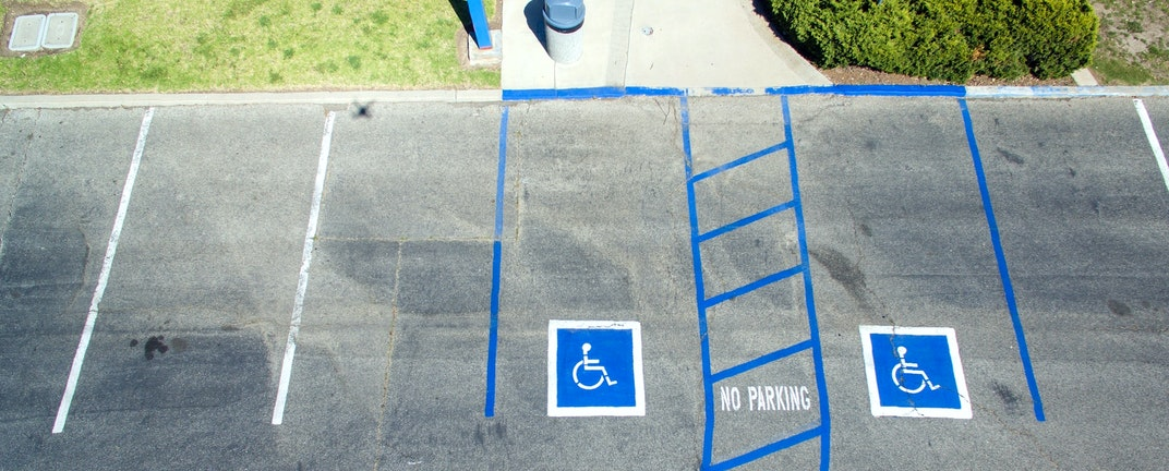 Aerial view of handicapped parking spots.